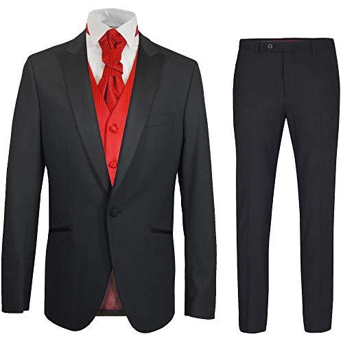 Paul Malone - Hochzeitsanzug Herren Set 6tlg schwarz Slim FIT inkl. Hochzeitsweste rot Uni 58