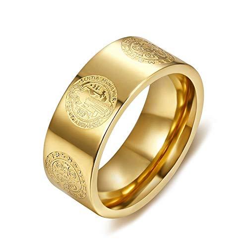 BOBIJOO Jewelry - Alliance Ring Ring Medaille van Sint Benedictus Huwelijk Bescherming van Exorcisme 316L Staal Verguld Verguld