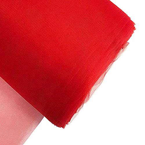 Craft And Party, 54' by 40 Yards (120 ft) Fabric Tulle Bolt for Wedding and Decoration (Red)