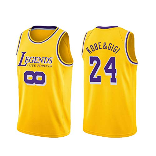 Kobe Bryant Jersey y Gianna Jersey, Black Mamba Lakers Legends Basketball Jerseys, Camisas Deportivas Impresas sin Mangas Unisex (XS-XXL) Yellow-XXL