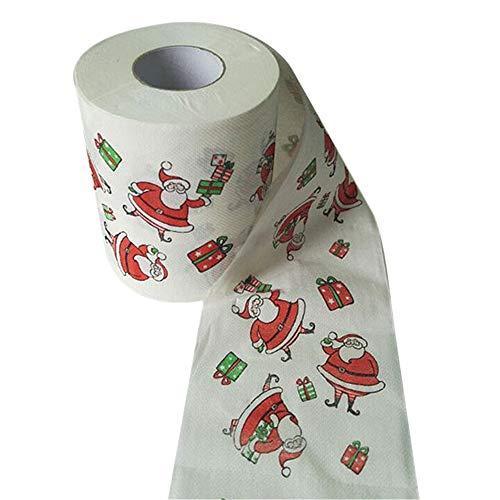 aiyvi Papierrolle mit Weihnachtsmuster, Küchenrolle, Toilettenpapier, Thema: Weihnachten, für Bad, WC, Küche, Tisch, Papierhandtuch 10 x 10 cm Mehrfarbig