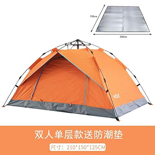 LONGGG Tent Outdoor 3-4 People Automatic Double-Layer Ultra-Light Thickening Wild Camping Rainproof Free Construction Speed Open Singlelayerdoubleautomaticorangedampproofpad