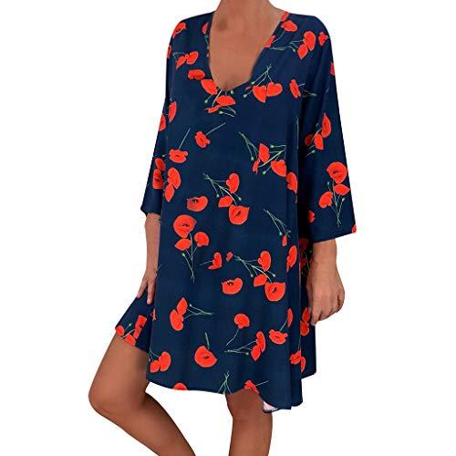 VEMOW Vestido Mujer Faldas Ropa de Verano con Mangas Tres Cuartos y Estampado Suelto para Mujer(A Azul,L)