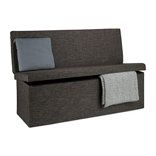 Relaxdays Tabouret de rangement pliant en lin avec dossier appui-dos coffre pouf de stockage ottoman H x l P: 73 x 114 x 38 cm repose-pieds banc de rangement avec couvercle, brun