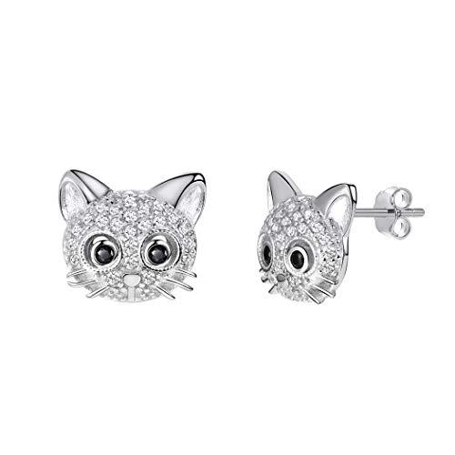 Crystal Cat Earrings 925 Sterling Silver Post AAA Cubic Zirconia Beard Kitten Animal Stud Earring