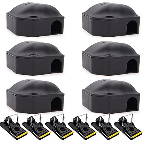 6 Boites + 6 tapettes anti souris   attrape souris intérieur et extérieur   station professionnelle pour pièges à rongeurs & mort aux rats   boite pour piège anti souris   souricide et raticide