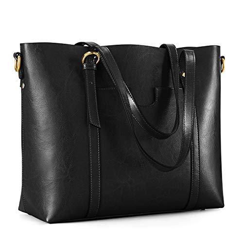 Kattee Women's Genuine Leather Tote Bag Vintage Large Capacity Satchel Work Purses and Handbags with Ajustable Straps(Black)