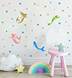 4 Different Mermaids Vinyl Wall Stickers for Children Girls Wall Decals with Starfish Bubbles Ocean Theme Wall Decor Decoration for Nursery Baby Kids Bedroom Bathroom DDK36 (Gold/Blue/Green/Pink)