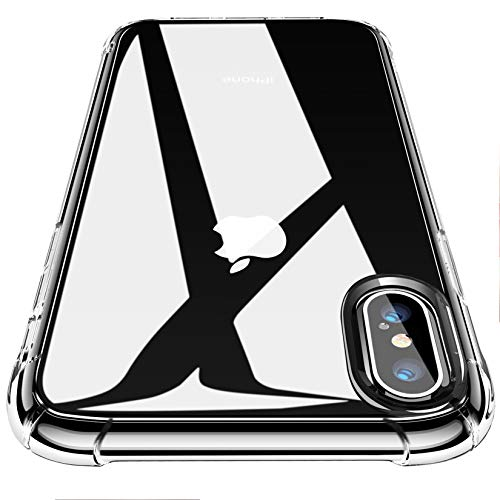 CANSHN Cover per iPhone XS e iPhone X, [Protezione Anticaduta di Grado Militare] Custodia per degli Urti in TPU Morbido [Design Suono Surround] 5.8 Pollici - Trasparente