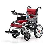 QQLK La Silla de Ruedas Eléctrica Ligera Plegable - Deshabilitado ScooterDoble Motor, Duración de la Batería 12-15 km, Peso del Rodamiento 120 kg,Rojo