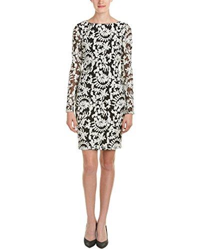 Alice + Olivia Women's Katy Embroidered Sheath Dress (Black/Cream, 6)