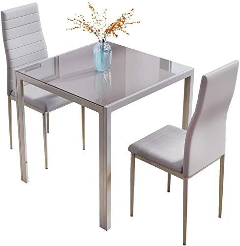 Tavolo e sedie, Tavolo da cucina in vetro quadrato piccolo con sedia posteriore alto,Grey