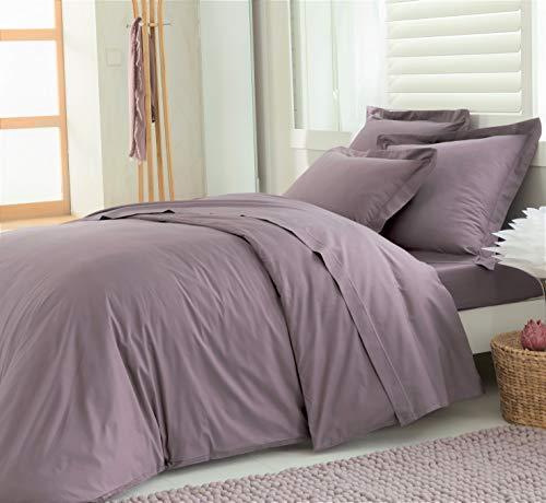 ELENA PARIS - Parure Housse de Couette 240x260 cm avec 2 taies d'oreillers 64x64 cm 100% Coton Percale 78 Fils - Couleur Lilas