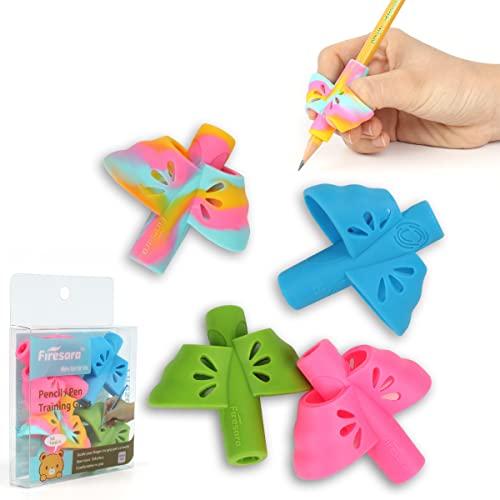Agarrador de lapiz, Firesara ergonómico escritura ayuda alas de mariposa doble diseño herramienta de corrección de la postura manzana lápiz apretones de goma para niños niños adultos mano derecha