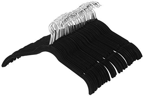 AmazonBasics Kleiderbügel für Hemd / Kleid, mit Samt überzogen, 100er-Pack, Schwarz