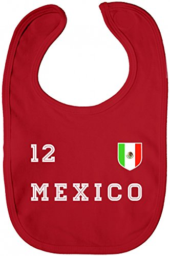 ShirtStreet Mexico Fußball WM Fanfest Gruppen Lätzchen Baumwolle Baby Bib Jungen Mädchen Trikot Mexiko, Größe: onesize,Red