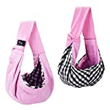 Cuby Dog and Cat Sling Carrier – Hands Free Reversible Pet Papoose Bag - Adjustable - Soft Pouch and Tote Design – Suitable for Puppy, Small Dogs, and Cats for Outdoor Travel (Classic Pink)