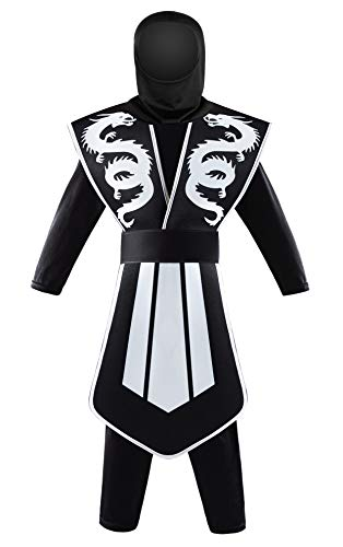 Seawhisper Halloween Kostüm Junge Ninja Kostüm Kinder Verkleidung Faschingskostüme Silber 110