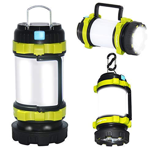 ForceMaxe Camping Lantern Rechargeable Flashlight,Power Bank,6 Modes Torch,IPX4 Waterproof,Portable LED Light with Two-Way Hook and USB Cable for Camping, Hiking, Hurricane Emergency