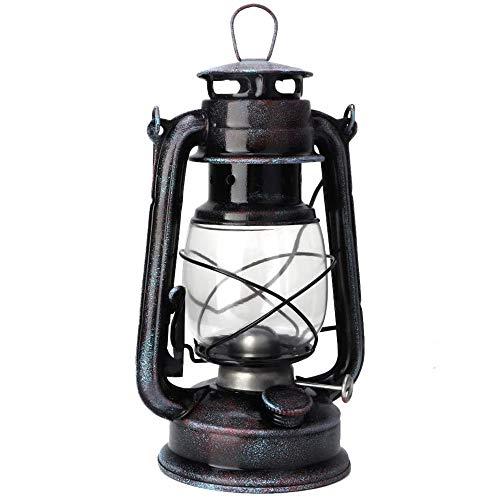 POFET Farol de tormenta vintage con luces de aceite, farol quemado, farol retro, lámparas de queroseno, lámpara de aceite clásica para el hogar, jardín, camping, citronela, color rojo