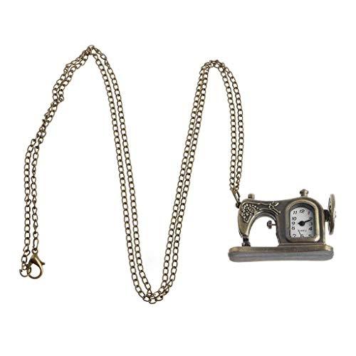 WYZQ Máquina de Coser Reloj de Bolsillo Cuarzo Moda Collar Vintage Charm Colgante Relojes Bronce Decoración Antigua Joyería Regalos Cadena Creativa
