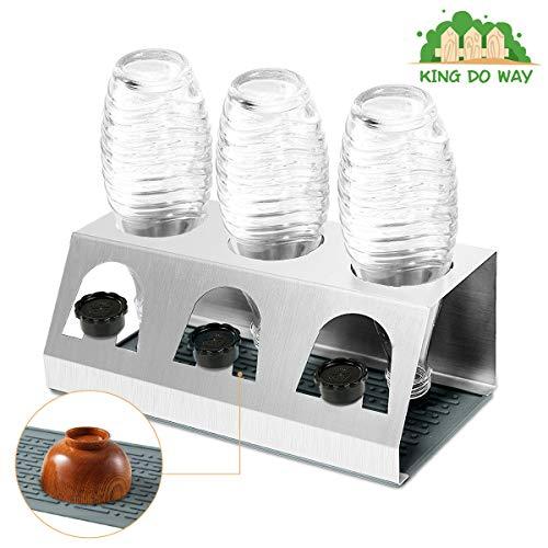KING DO WAY afdruiprek van roestvrij staal voor Sodastream Crystal en Emil flessen, strooamborstel met dekselhouder flessenrek uitneembare lekbak voor glazen flessen 3X