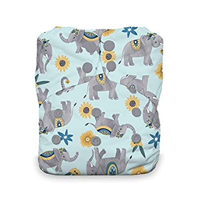 Thirsties One Size All in One Cloth Diaper, Snap Closure, Elefantabulous