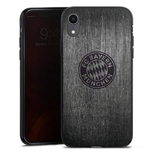 DeinDesign Silikon Hülle kompatibel mit Apple iPhone Xr Case schwarz Handyhülle Metallic Look FCB FC Bayern München