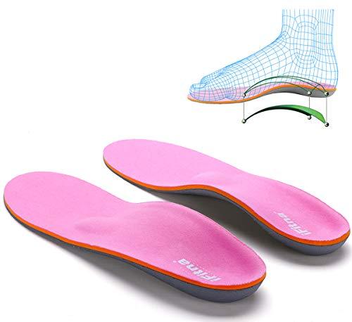 Solette ortopediche supporto per arco plantare a tutta lunghezza inserti metatarso Pinnacle Plus per piedi piatti, metatarsalgia,fascite plantare, dolore al tallone,dolore all'avampiede,Rosa,39 EU
