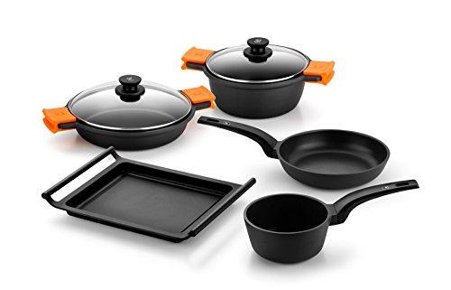 Bra Efficient Batería de cocina, 5 piezas antiadherente, apta para todo tipo de cocinas incluso inducción, negro y naranja