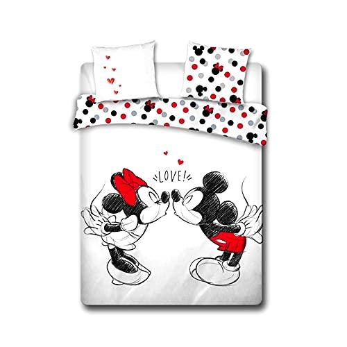 Funda Nórdica Minnie Mouse & Mickey Mouse 140 x 200 cm y 2 Fundas de Almohada de 65 x 65 cm / Magnifica Funda nórdica de Algodón 100 % Premium, Juego de Cama 3 Piezas Disney Producto Oficial