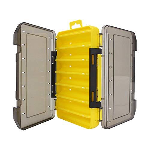 LinHut Angelköder Köder, Softfishing-Zubehör - Doppelseitige Angelgerätebox 14 Fächer Köderköder-Hakenbox (gelb)