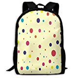 TTmom Unisex College Backpacks Bookbag, Backpack for Adults Cute & Colorful Dots Pattern Shoulders Bag