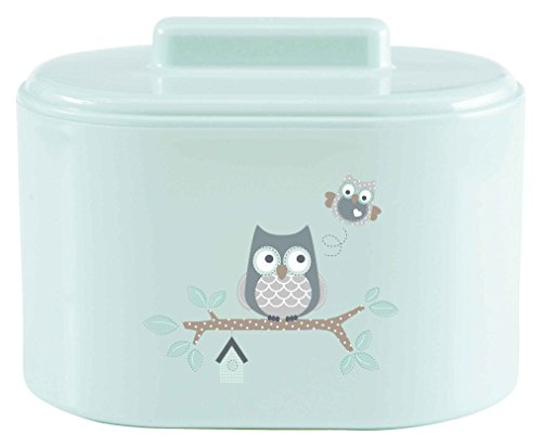 bébé-jou 621232 Kombidose Owl Family, Hygienebox, Kosmetikdose, Utensilienständer, Eulen, mintgrün