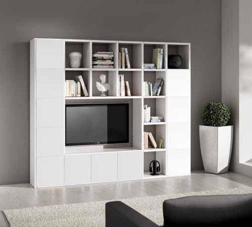 Wohnwand-TV Bücherregal weiß Esche 25Elemente 12Antine
