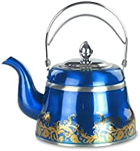 Waterkoker Blauwe Thee Set Water Roestvrijstalen Theepot Zeef Theepot Verdikking Klassiek Koffie Elegant Elegant Gouden Ka...