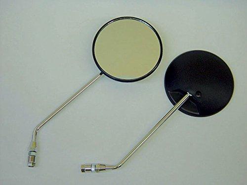 丸型バックミラー 左右セット 8mm 正ネジ (3種類の取り付けボルト付属)スーパーカブ スクーピー TACT(タクト)Dio(ディオ) レッツ等 ホンダ・スズキ スクーターに C50-MIR (銀ステー)