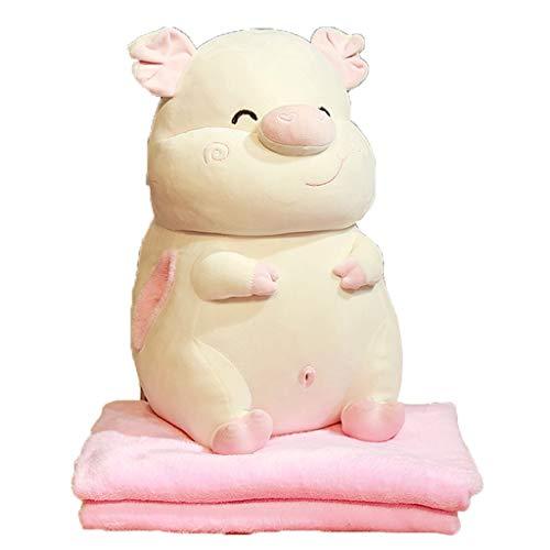 Gezellig kussen Pig kussen Quilt Dual Use-Mooie Folding Air Conditioner is nap Blanket zacht