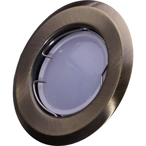 SMD LED Einbaustrahler 230 Volt 4W GU10 Einbau Einbauspot Deckenleuchte Rahmen Altmessing Rund starr hg03-6 Warmweiß