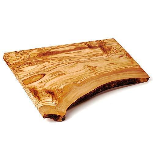 Schneidebrett, Servierbrett, Tranchierbrett, Servierplatte, Olivenholz, Holz, meist eine Seite naturbelassen, rustikal 50cm x25cm x2,5cm