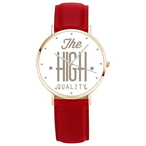 SOUFEEL Relojes Fotográficos Personalizados: Relojes con Nombre Grabado Personalizado, Regalos Personalizados para Hombres y Mujeres-Oro Roja