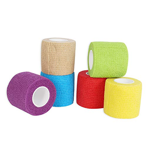 Yumi V Cohesive Bandages 6 Rolls Pet Vet Wrap Self Adhesive Bandage Non woven Elastic Sports Bandages Cohesive Support Bandage Water Repellent Breathable for Wrist Ankle Sprains Swelling 6 Colour