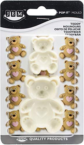 PME 1102EP004 JEM Pop It-Motivform Teddybär zum Dekorieren von Torten, Sortiment 2 kleine Größen, Kunststoff, Ivory, 5 x 2 x 6 cm
