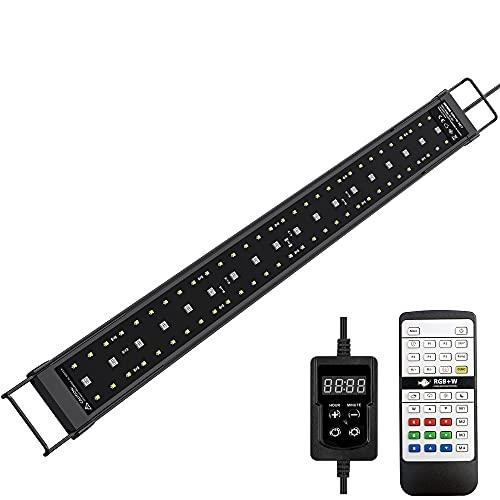 NICREW SkyLED RGB+W 24/7 LED Acquario, Luce Acquario Impermeabile a Spettro Completo con Timer per Piante Acquatiche, Lampada Acquario 58-70cm, 21W, 1050 Lumen