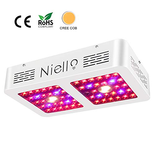 Niello 600W Cree COB LED Grow Light, Dual Reflectors Full Spectrum Plant Light with Daisy Chain Function for Indoor Hydroponic Greenhouse Plants Veg and Flowering