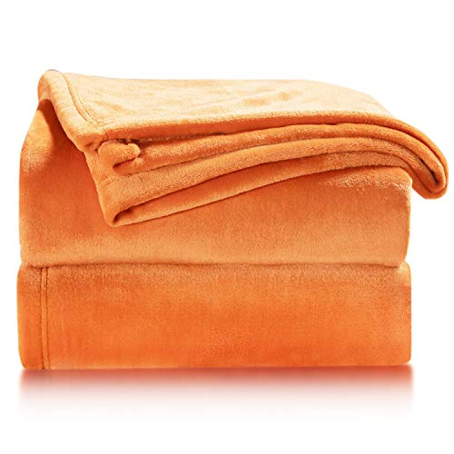 BEDSURE Fleece Blanket Sofa Throw - Versatile Blanket Fluffy Soft Throw for Bed and Couch Travel / Single, Orange, 130x150cm