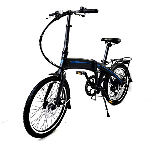 Totem Electric Bicycle 250W Commuter Series 20' Folding Bike w/Removable 36V Battery, 5 Level Pedal Assist and Pedal-Free Mode, USB Charging Port, Lightweight 44 lbs, Ships Fully Assembled - Black