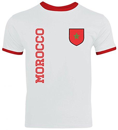 Marokko Fußball WM Fanshirt Gruppen Herren Männer Ringer Trikot T-Shirt Fan Trikot Morocco, Größe: S,White/Red