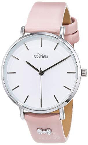 s.Oliver Damen Analog Quarz Uhr mit Leder Armband SO-3748-LQ