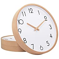"""TXL Wall Clock Wood 12"""" Silent Large Wood Wall Clocks Analog Digital Wall Clock Non Ticking for Kitchen Bedroom Living Room &Classroom Office Vintage Home Decor(1)"""